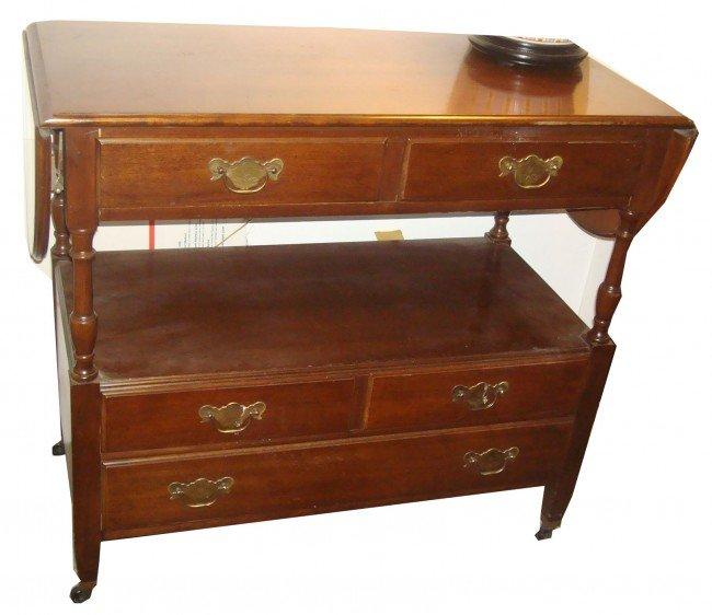 7: Mahogany Five Drawer Serving Cart