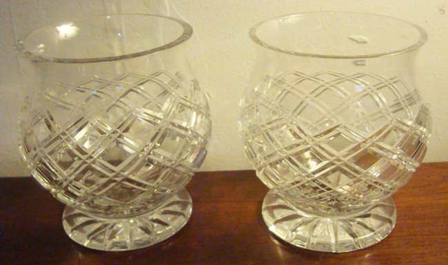 12: Pair of Waterford Crystal Cachepots