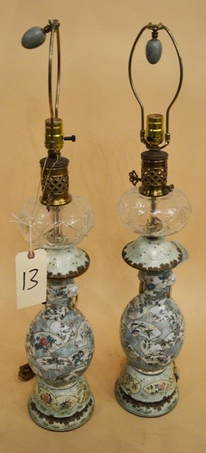 13: Pair of Chinese Lamps