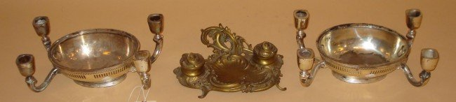15: Bronze Inkwell and Pair of Candelabra
