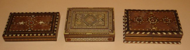 17: Three Inlaid Moroccan Boxes