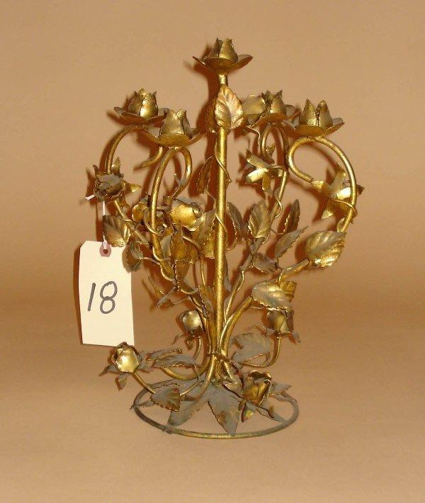18: Five Light Gilt Metal Candelabra