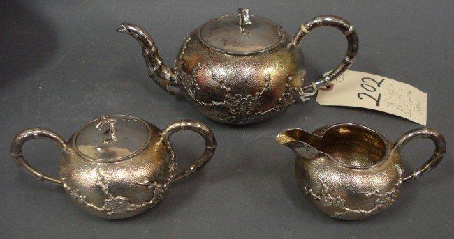 202: 3pc Chinese Silver Tea Set