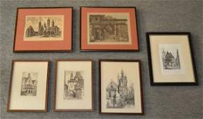 519 Six Assorted Etchings and Prints