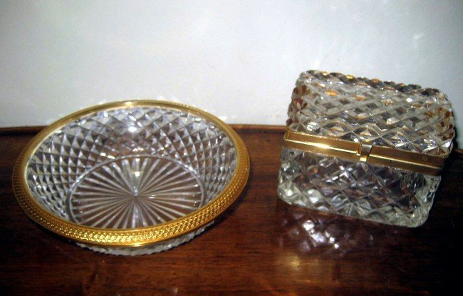 6: Crystal and Bronze Box w/ Bowl
