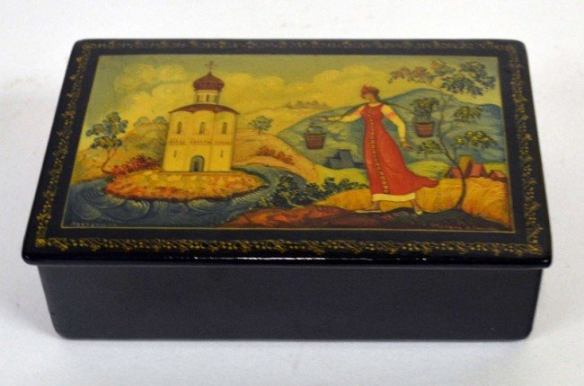 7: Russian Lacquered Paper Mache Box