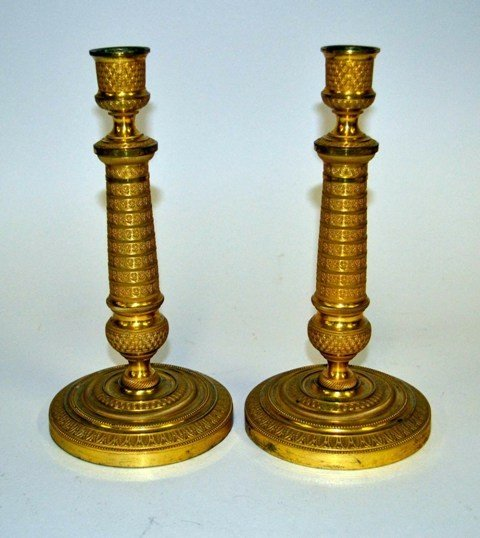 8: Pair of Bronze Dore Empire Style Candlesticks