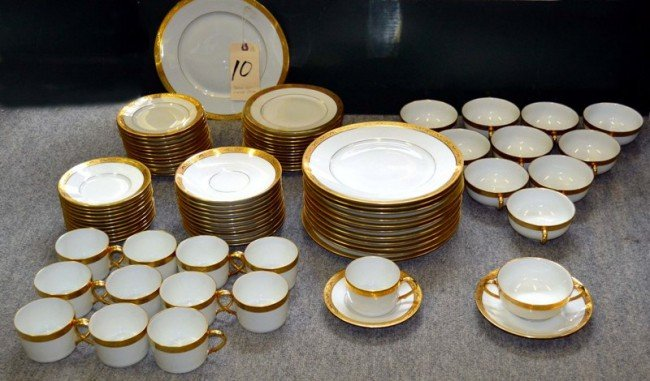 10: Partial Limoge Dinner Set 6 Pc Serv 12