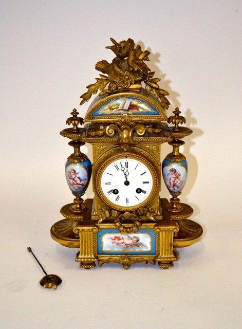 13: Bronze Mantle Clock w/ Sevres Plaques