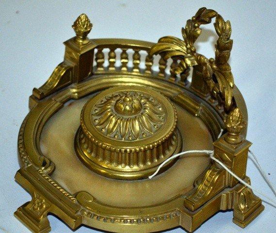 15: Fine Alabaster & Bronze Inkwell