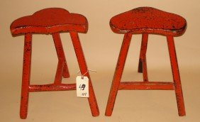 Pair Distressed Red Stools