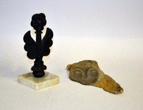 Marble Fragment, Iron Fleur De Lis