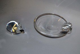 Steuben Glass Asthray And Steuben Glass Mouse