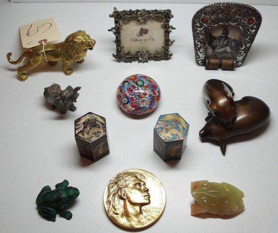 69: Assorted 11 Piece Lot Including Bronze Lion, Bronze