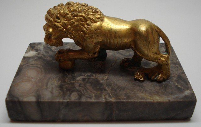 70: Bronze Dore Lion on Marble Plynth