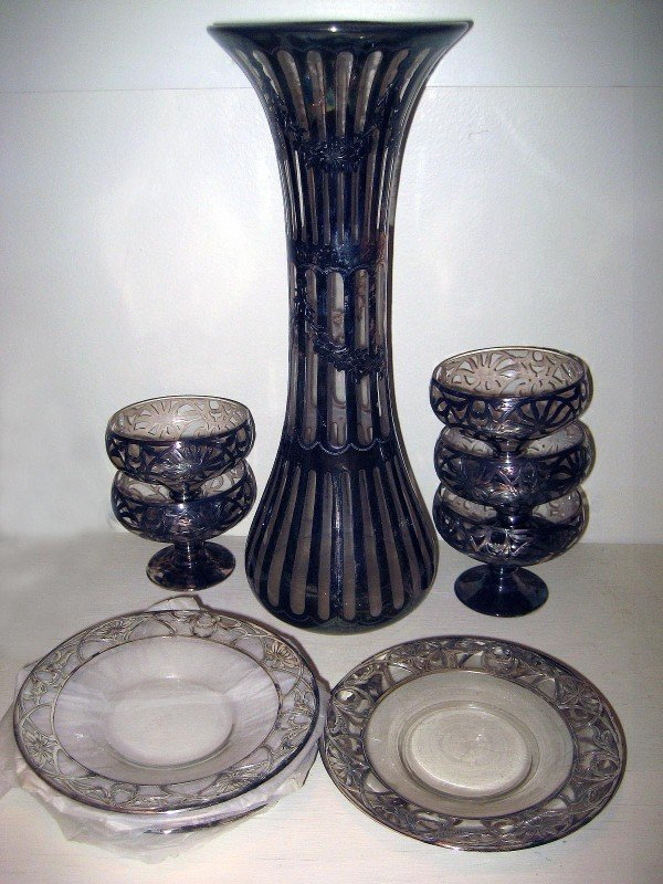 87: Crystal Silver Overlay Vases