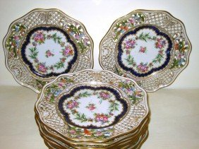11 Reticulated Hand Painted Floral Plates
