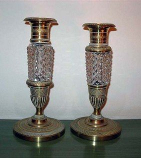 Pair Of Candlesticks, Bronze & Crystal
