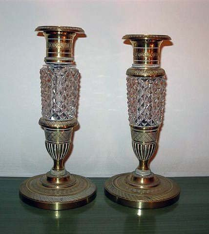 99: Pair of Candlesticks, Bronze & Crystal