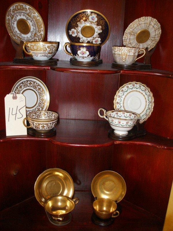 145: Group Porcelain Tea Cups & Matching Saucers, Royal