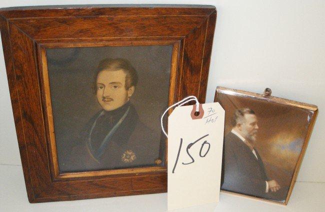 150: Miniature Portraits, Two Framed portraits of Men