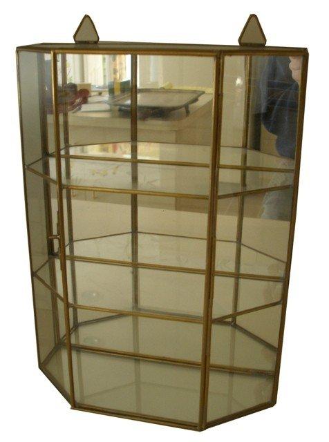 159: A Miniature Brass Framed Glass Panel Display Case