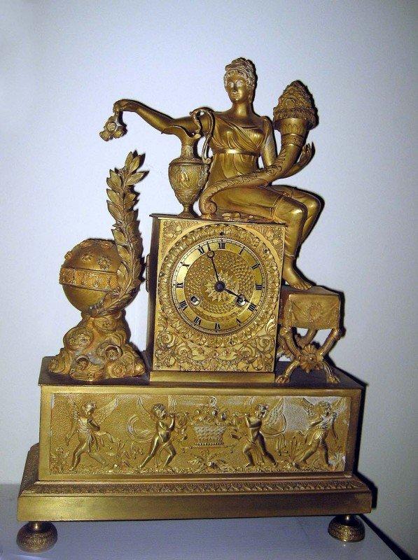 226A: Bronze Dore Empire Mantle Clock