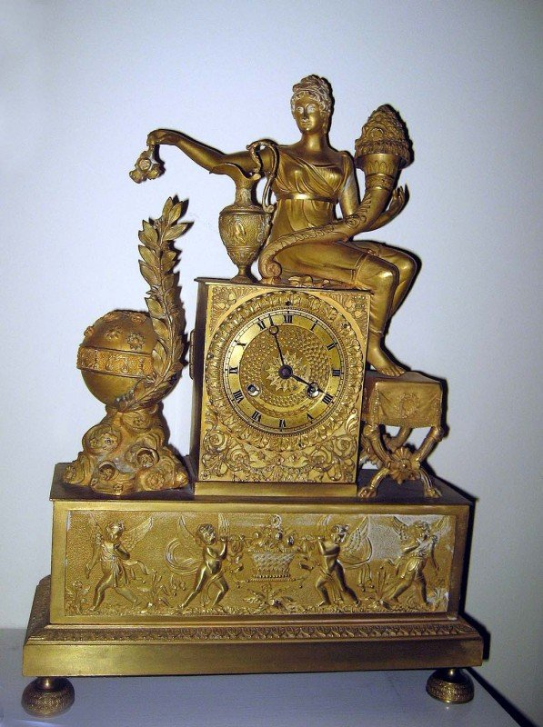 226A: Bronze Dore Empire Mantle Clock
