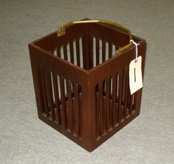 1: Mahogany Plate Rack with Brass Handle