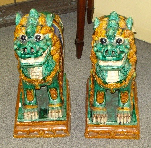 76: 19th Century Chinese Glazed Foo Dogs on Bases   ove