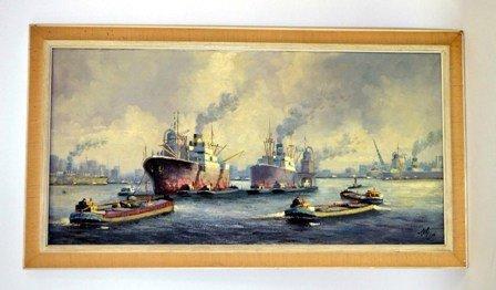 10: Oil on Canvas Harbor Scene