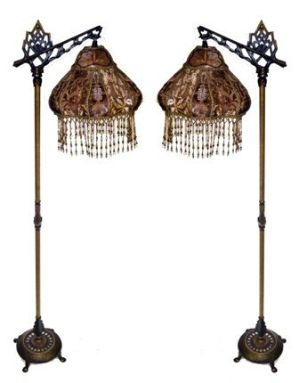 Exceptional 46: Kathleen Caid Pair Of Victorian Floor Lamps