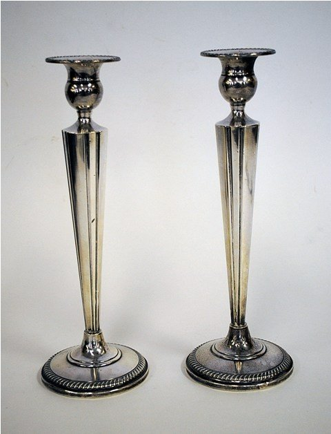 21: Pair Of Art Deco Sterling Silver Candlesticks
