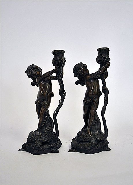 22: Pair Of  Art Nouveau Style Patinated Cherub-Form Ca
