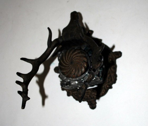 115: Cast Iron Stag's Head Inkwell and Pen Holder - 5