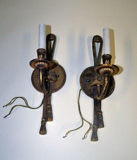 1: Pair of Brass Single Arm Sconces
