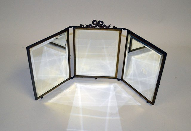 7: Antique Louis XVI Style Triptych Vanity Mirror