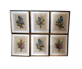 Group Of Six Hand Colored 19th C. Floral Prints
