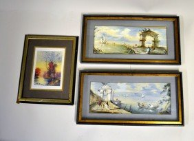 Pair Of Italian Coastal Scenes With Riverscape