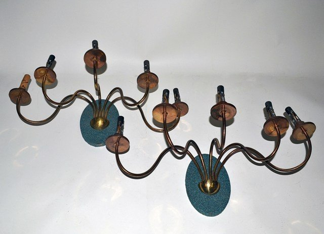14: Pair of Modernist Brass Five Arm Sconces