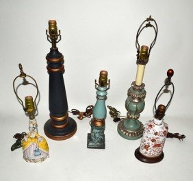 15: Group of Five Single Table Lamps