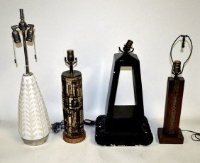 16: Group of Four Mid-Century Modernist Table Lamps