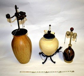 18: Group of 3 Ceramic Vessels, Mounted as Table Lamps