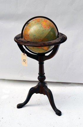 Globe on Mahogany Stand