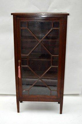 Inlaid One Door Mahogany Bookcase