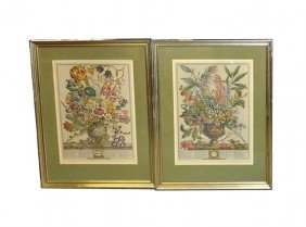 Pair Of 18th C. Reproduction Floral Prints