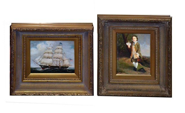 Two 18th C. Style Paintings, Sloop and a Portrait