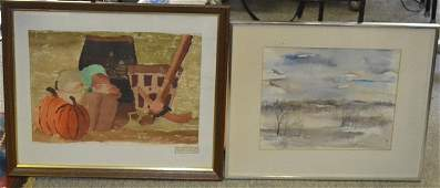 Two Watercolors Winter Landscape  Fall Harvest