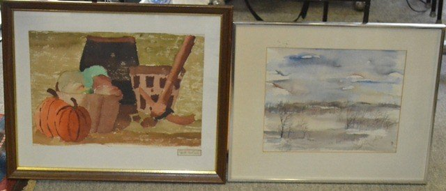 Two Watercolors, Winter Landscape & Fall Harvest