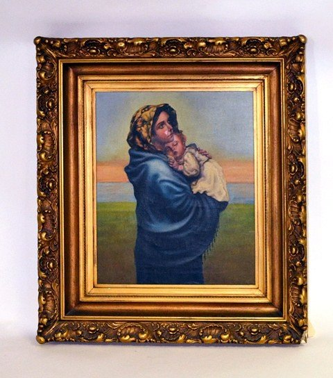 V. Torrice Oil on Canvas, Madonna & Child